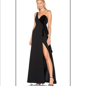 Jill Stuart One-Shoulder Wrap Crepe & Velvet gown